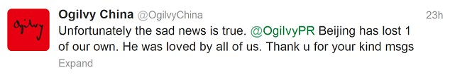Ogilvy China confirms the death of their employee on Twitter