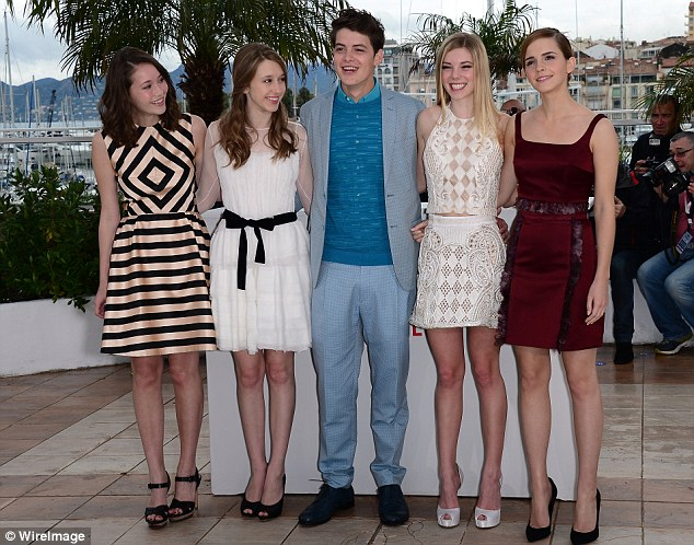 Co-stars: Emma with her fellow stars of the film (left to right) Katie Chang, Taissa Fariga, Israel Broussard and Claire Julien
