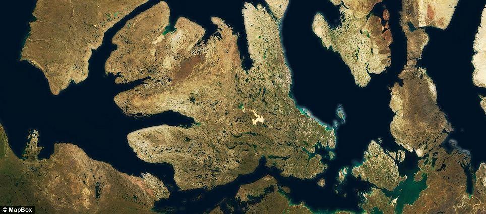 Cloudless atlas shot of the Beaufort Sea and Amundsen Gulf near Canada.