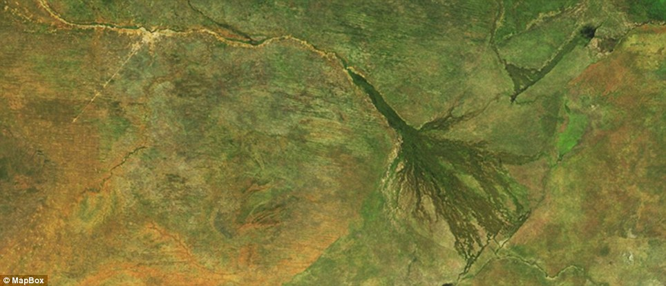 This image of Botswana in south-central Africa, is the home of the Okavango Delta.