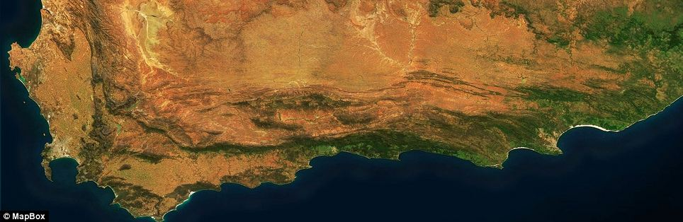 The southern coast of South Africa, with the Cape of Good Hope visible in the southwest.