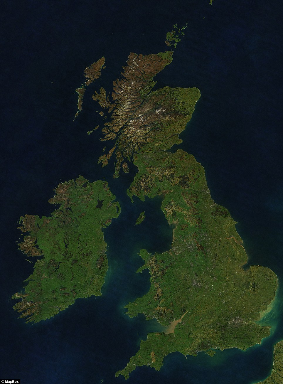 A clear image of the UK taken from MapBox's cloudless atlas.