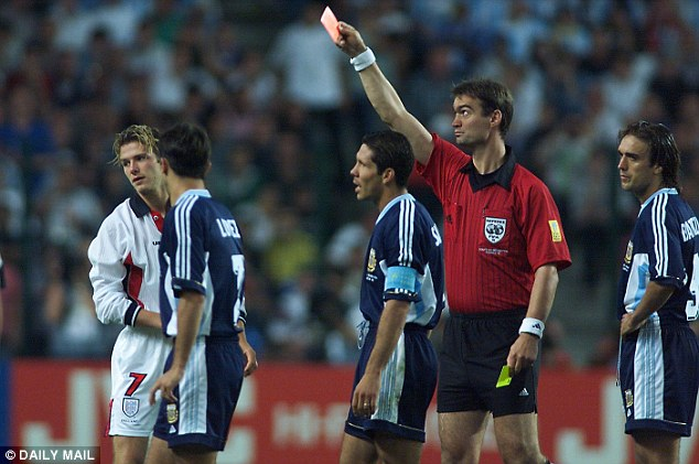Headlines: David Beckham was infamously sent off against Argentina at the 1998 Wolrd Cup in Saint-Etienne