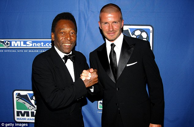 Hands on: Beckham greets Brazilian great Pele at a gala in New York in 2008