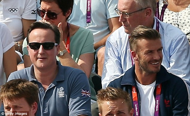 Premier League: Beckham joined Prime Minister David Cameron to watch the London 2012 Olympics last summer, here enjoying the BMX