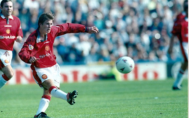 Goal of the season: Beckham scored a stunning 57-yard strike on the opening day of the season against Wimbledon in 1996