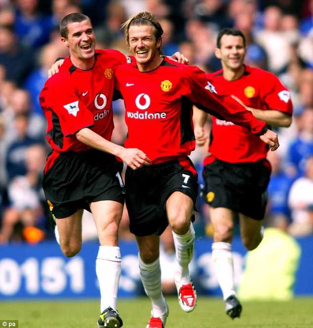 Joy: David Beckham (centre) celebrates scoring his final goal for Manchester United against Everton in May 2003. Weeks later he was sold to Real Madrid