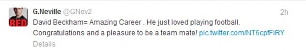 Gary Neville tweet about Beckham