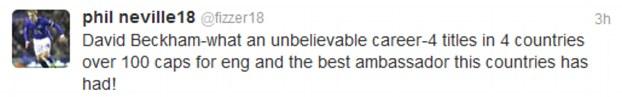 Phil Neville on Beckham retiring