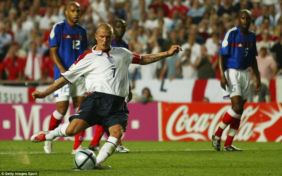 Taking responsibility: But Beckham missed a crucial penalty when England were 1-0 up against France at Euro 2004