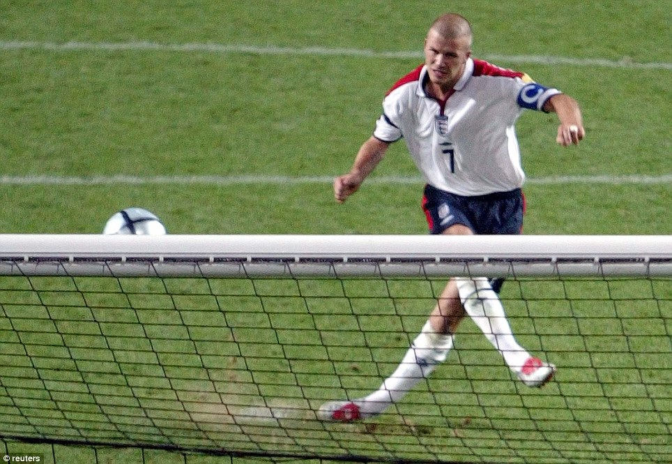 Short: But not necessarily smooth - Beckham's short hair returned but he missed this crucial penalty in Euro 2004 against Portugal