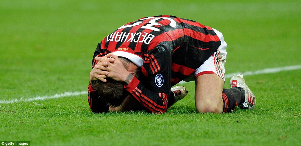 Cruel: After heading back to LA at the end of his first spell, Beckham returned to Milan in 2010, where he tore his Achilles tendon in March to ruin his World Cup dream