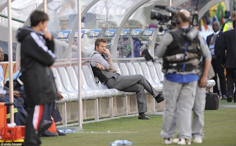 Injured: Beckham was unfit for the actual tournament, so he instead went as a coach