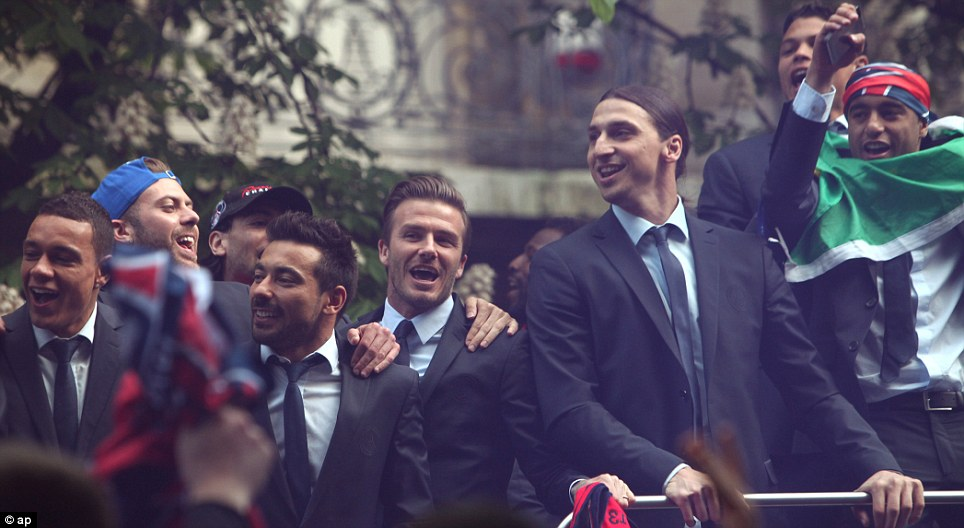 Fitting finale: And, such as on this open top bus tour of Paris, he was surrounded by players of the highest quality until the very end