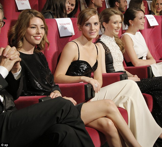 Front row seats: Director Sofia Coppola with Emma, Taissa Fariga and Katie Chang