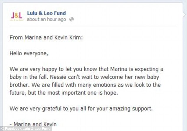 Cause for celebration: The Krims shared the happy news on a Facebook page set up for the children