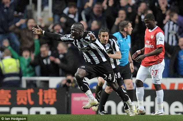 Incredible: Cheick Tiote equalises in the final minutes of the 4-4 draw with Arsenal