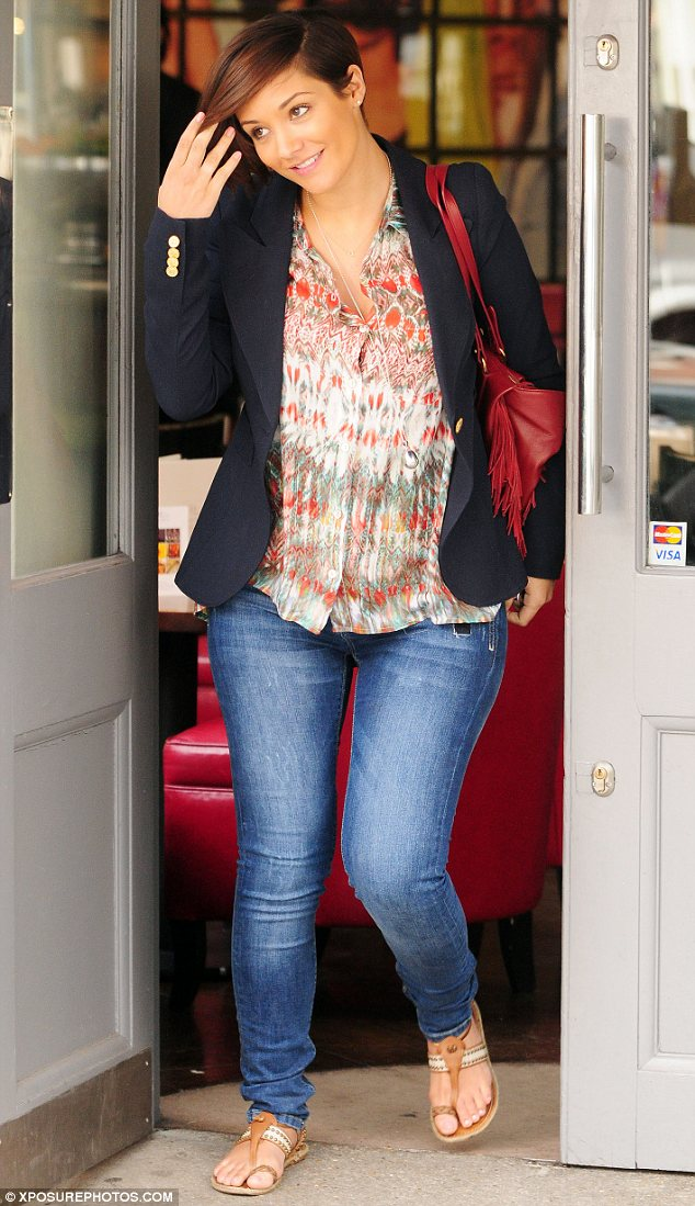 Bumping along nicely: Frankie Sandford showed off her pregnant shape as she stepped out for lunch in Chelsea on Thursday