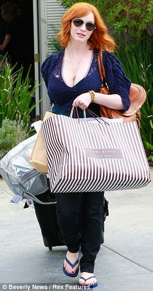 Christina Hendricks (and her feet) out and about in Los Angeles