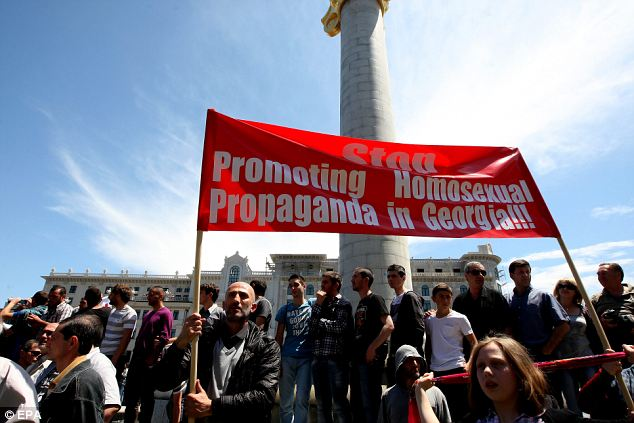 'Deplorable': Those occupying the street held posters and placards reading 'We don't need Sodom and Gomorrah!' and 'Democracy does not equal immorality!'