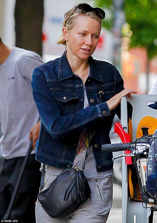 Barefaced beauty: Naomi Watts went make-up free to take her son Sasha to school in New York City on Friday