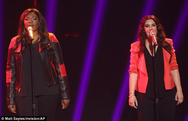 No rivalry here! Finalists Candice and Kree sang together earlier in the programme