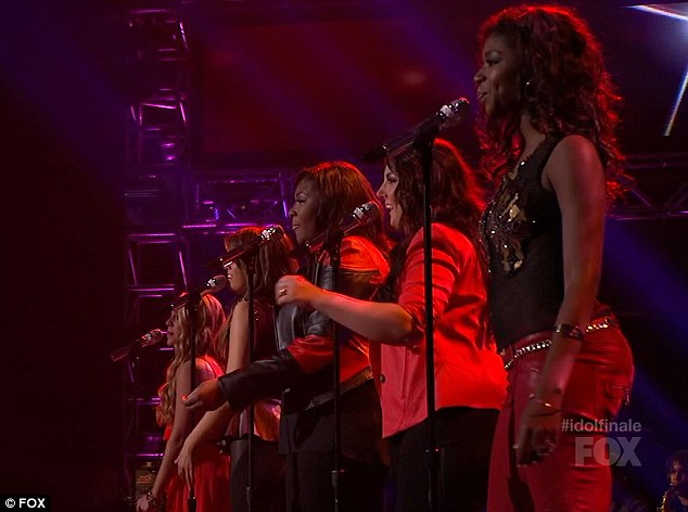 Belting it out: Amber, Kree, Candice, Angie and Janelle took to the stage
