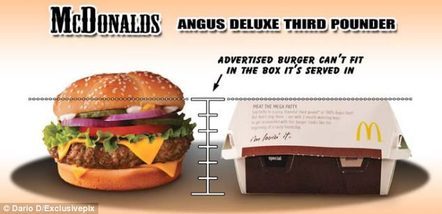 But despite the generous lettuce, the photographer found that the advertised Angus Deluxe was another McDonald's burger that did not seem to fit in its box