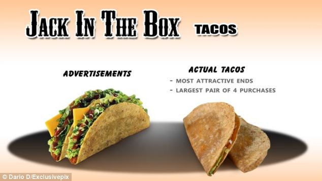 And at U.S. brand Jack in the Box, the photographer bought four sets of tacos before deciding to photograph this pair - the best of the bunch
