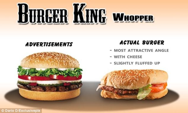 When he bought a Whopper from Burger King, Dario found that his purchase fell a little flat compared with the one packed with tomato, lettuce, onion and pickles in the ad