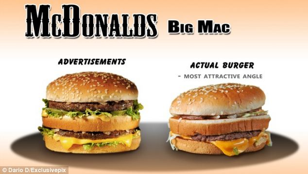 Photographer Dario D decided to find out how many fast food products actually looked like their advert. This Big Mac couldn't reach the same height as the advertised burger