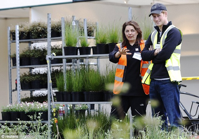 Visit: He met Jinny Blom who has designed the B&Q Sentebale Forget-Me-Not garden for his charity