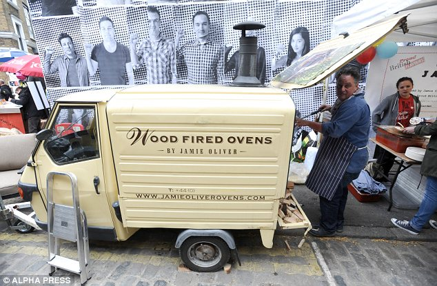 Food for thought: There was plenty of food available and dishes were cooked in Jamie's wood fire ovens