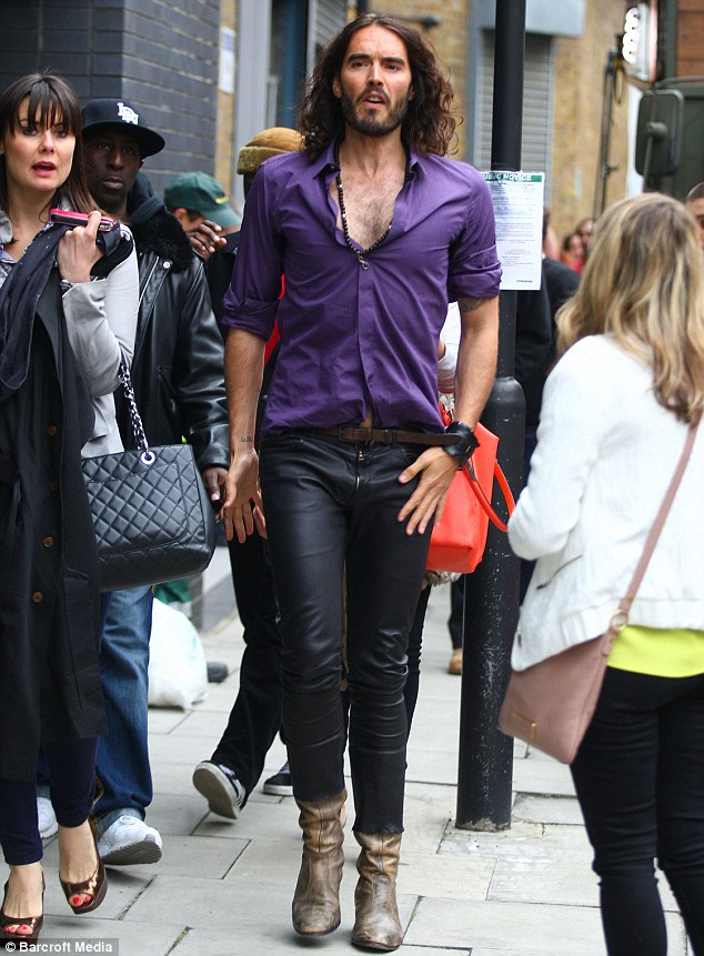 Purple power: Russell Brand also joined in the festivities