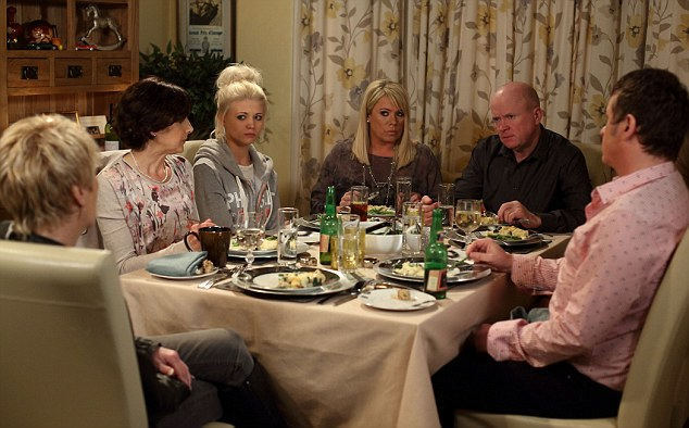 Sharon (fourth on the left) risks everything by having a dinner party and serving fish