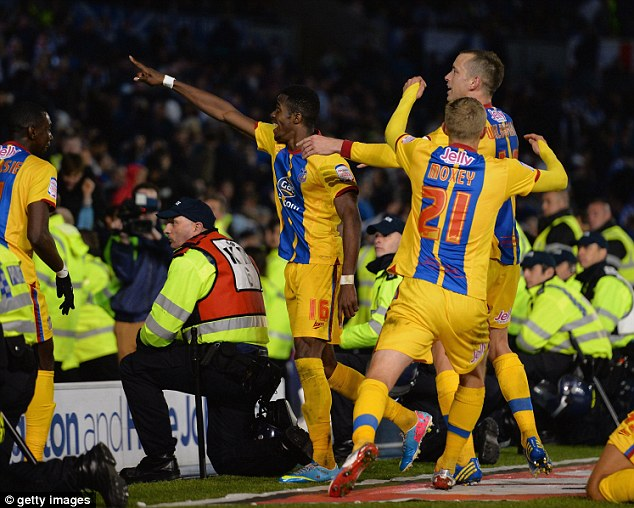 Going to Wembley: Wilfried Zaha scored both goals in a 2-0 win