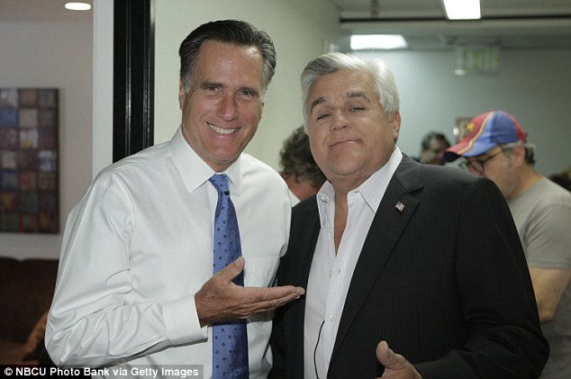 Odd couple: Romney and Leno posed for a photo together backstage during the ex-governor's appearance on the Tonight Show