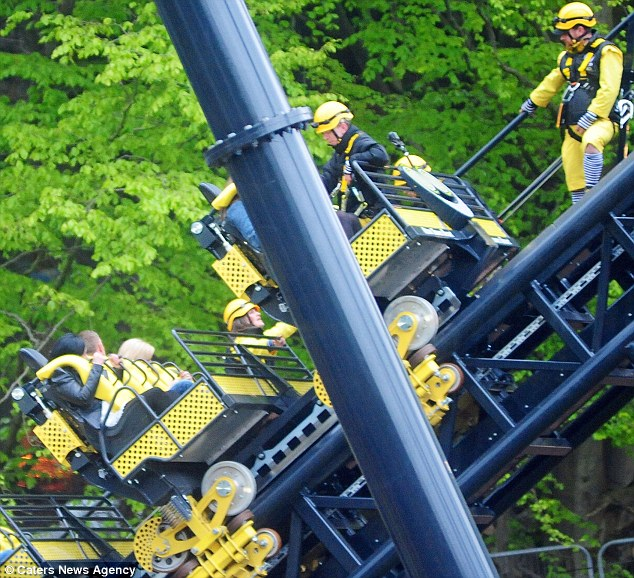 Stuck: Alton Towers' new record-breaking roller coaster The Smiler opened for the first time Friday night - but broke down