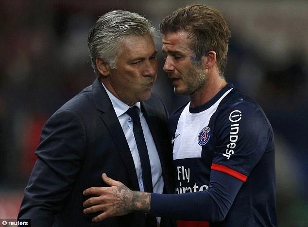 Thanks boss: Carlo Ancelotti and Beckham share a moment as he leaves the pitch