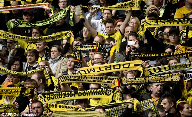 Sea of black and yellow: These will be the scenes amongst the Dortmund end at Wembley next week