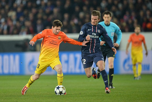 Top level: Beckham (right) played against Lionel Messi and Co for Paris Saint-Germain earlier this season