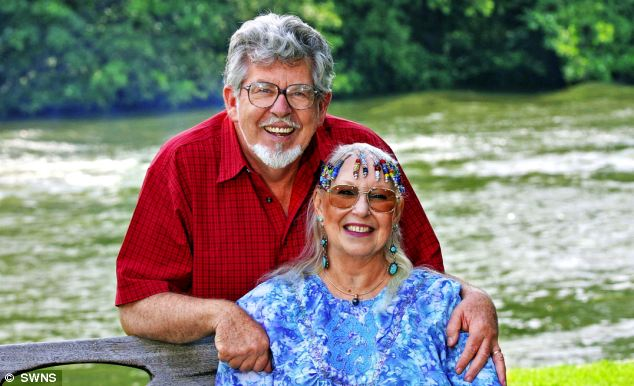 Rolf Harris pictured with his wife of 54 years, Alwen Hughes. It is believed she was at Mr Harris' concert to support him