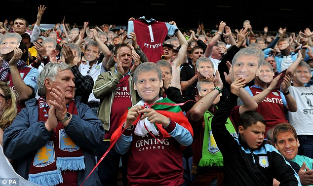 Fans' favourite: Aston Villa supporters paid tribute to Petrov who was forced to retire from playing