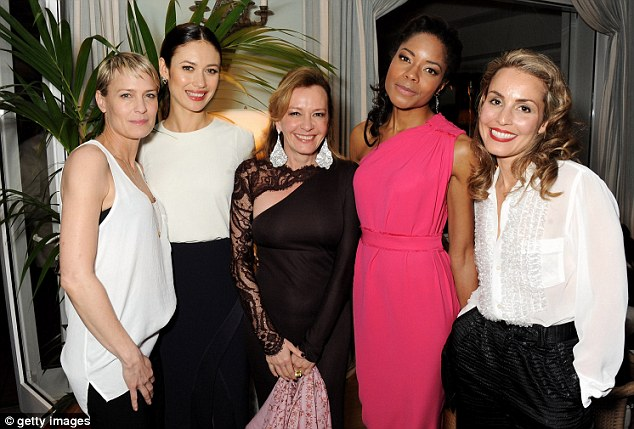 Best friend: The women all made sure to catch up with one of the event's guests, Caroline Scheufele the artistic director and co-president of Chopard