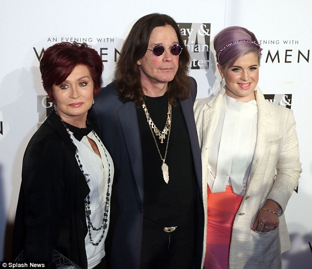 On the mend: Sharon and Ozzy stepped out on the red carpet together with daughter Kelly after reports that they shared a friendly meal
