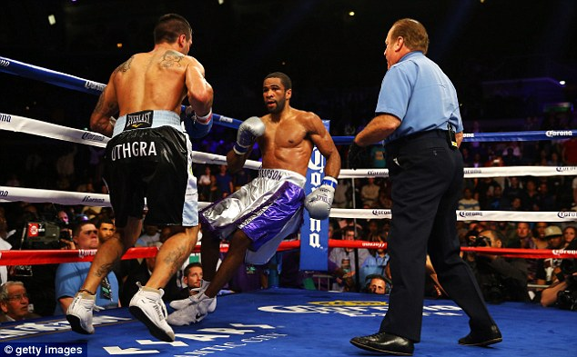 Jelly legs: Peterson was stopped for the first time in his career but remains the IBF world champion