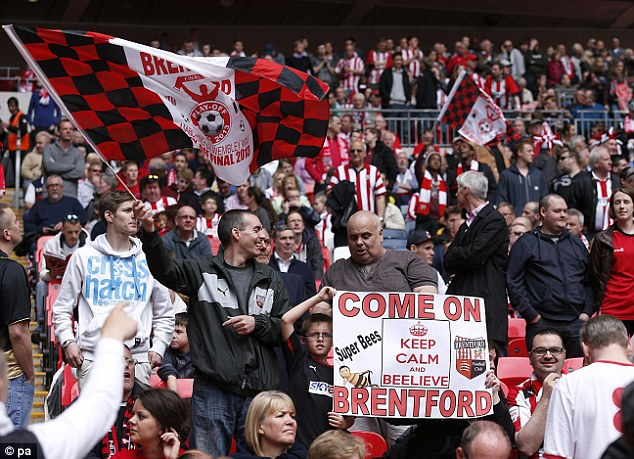 Big day out: Brentford and Yeovil fans get ready for the big kick-off at Wembley
