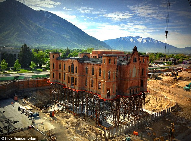 Up in the air: Provo City Center Temple on construction stilts