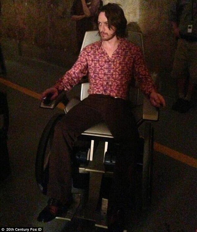 In character: James Mcavoy in the new X-Men: Days of Future Past film has additionally been posted online
