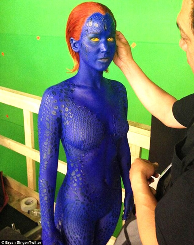 Monday blues: Jennifer Lawrence was pictured painted blue for her Mystique character in X-men: Days of Future Past on Monday